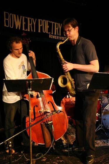 The Donny McCaslin trio, with Ted Poor on drums and Hans Giawshnig on bass.